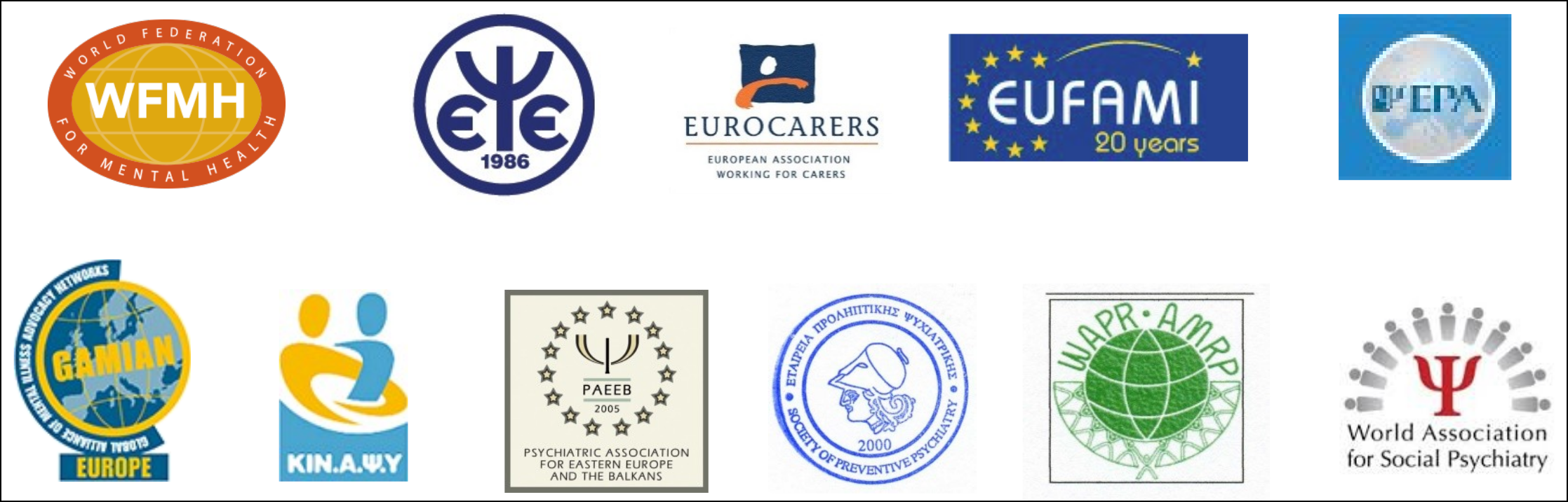Sponsors for the Athens Declaration on living with Schizophrenia